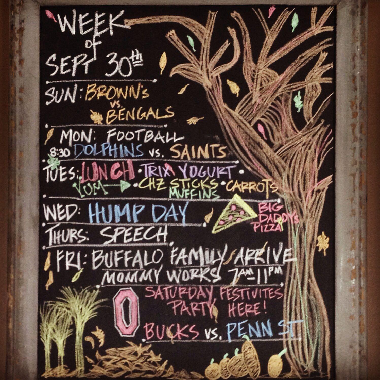Weekly Chalkboard Chalkboard Calendar Kitchen Chalkboard
