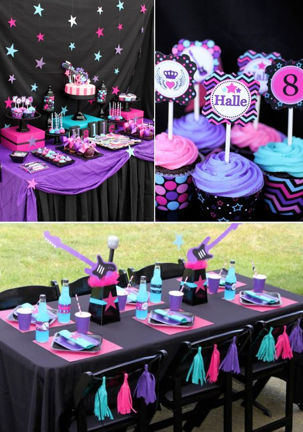 Girly Rockstar themed birthday party Pink Purple Turquoise 8th Eigth
