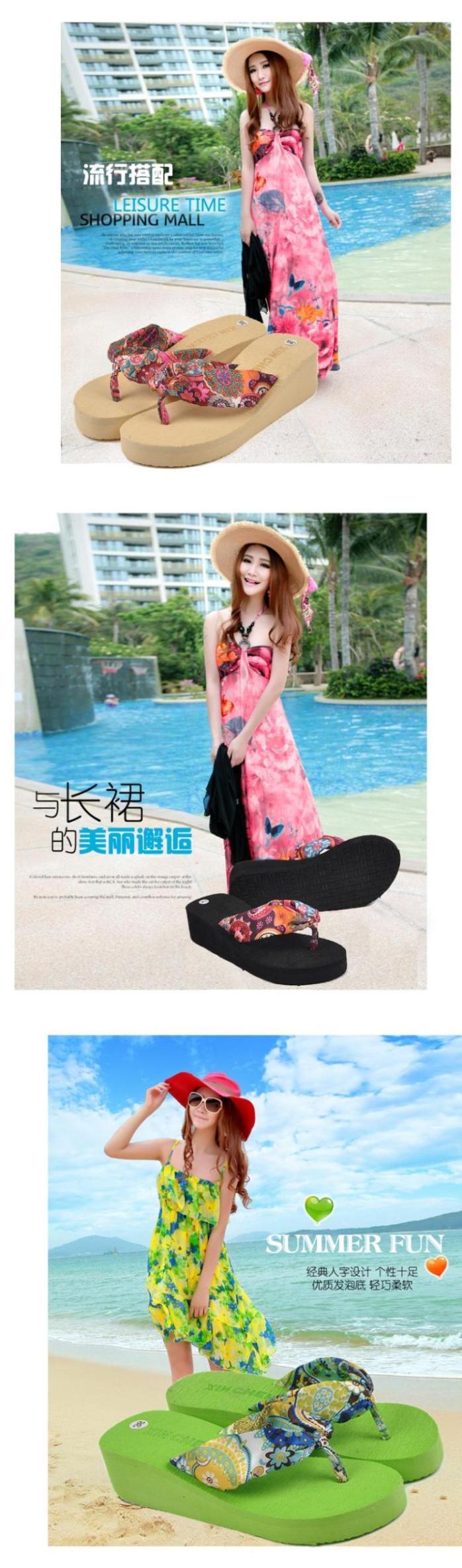 2014 Summer bohemia flower flip flops platform wedges women sandals platform flip slippers beach shoes | #BEACH #HIGHHEELSLIPPERS