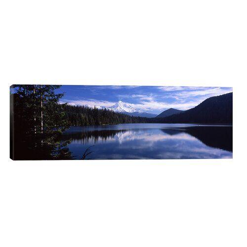 Union Rustic Leinwandbild Reflection of Clouds in Water, Mt Hood, Lost Lake, Mt. Hood National Forest, Hood River County, Oregon, USA   Wayfair.de