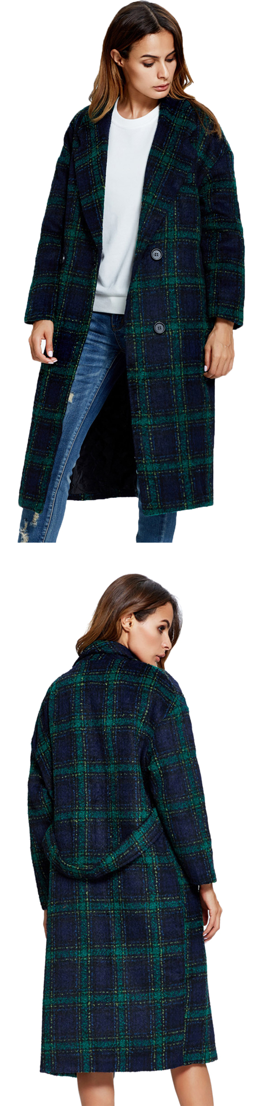 MYNYSTYLE | Green Plaid Lapel Double Breasted Wool Blend Longline Coat