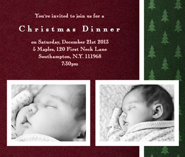 "Christmas Card Designs | ""GREETING AND SLEEPING"" Pickett's Press. Christmas Photo Card with Magenta and Christmas Tree Border."