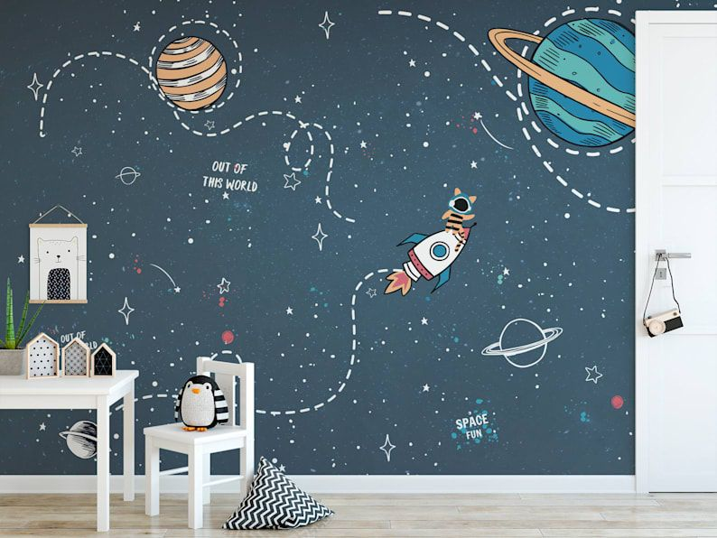 Self Adhesive Peel And Stick Kids Wallpaper Removable Space Etsy Kids Wall Murals Space Themed Room Kids Room Wall Murals