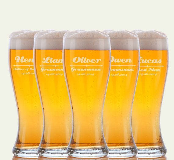 5 Personalized Beer Glasses Groomsmen Gifts Custom Wedding Favors Father Of The Bride