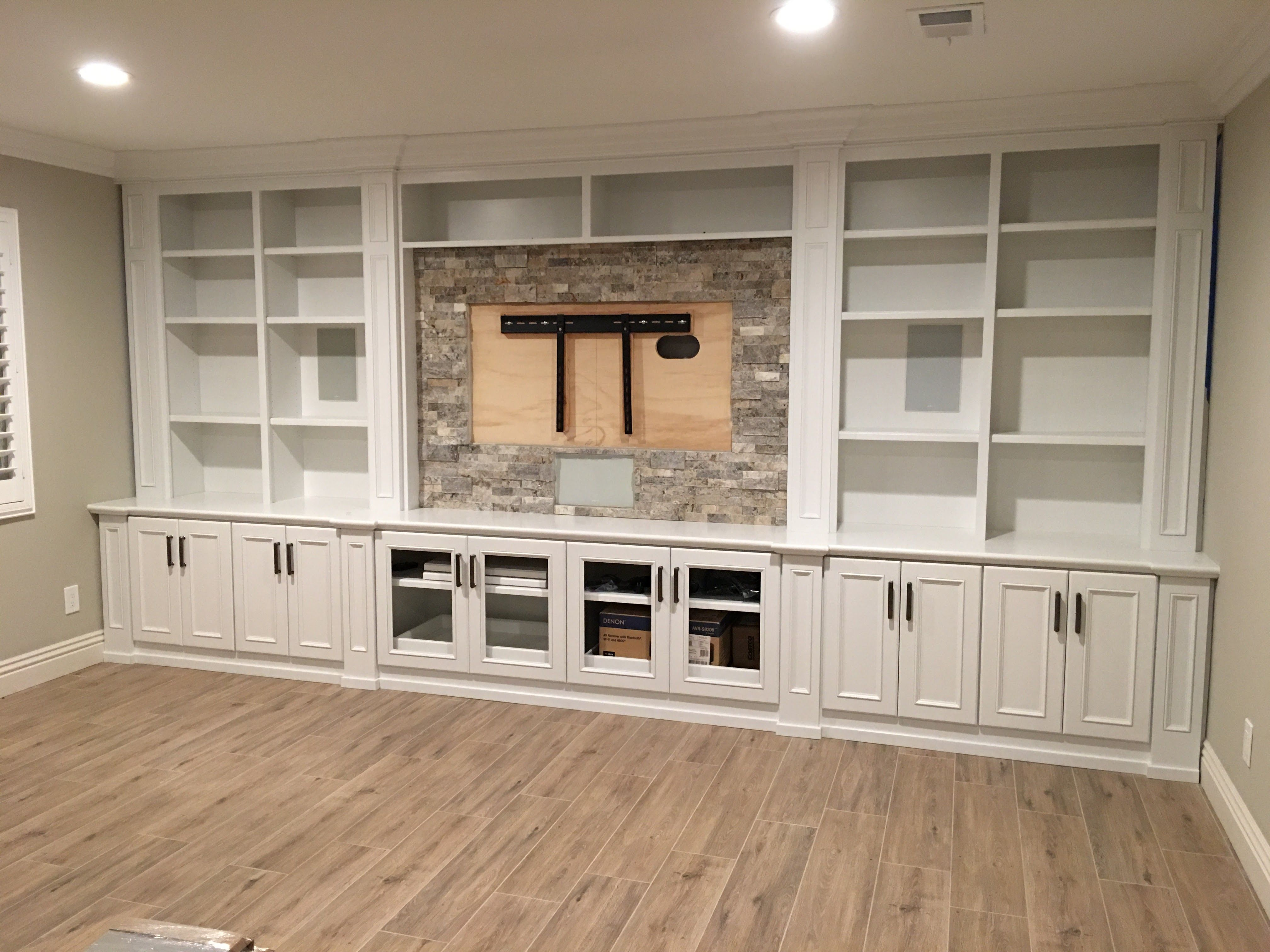 Family room tv cabinets  Wall unit in 2019  Basement family rooms Family room walls Living
