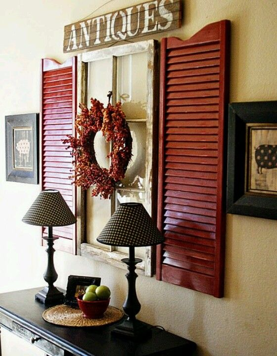 Entryway options - antique shutters old window pane.