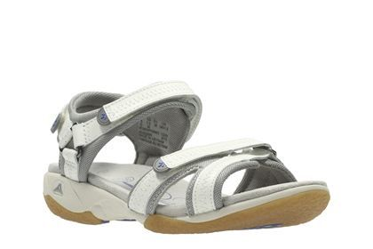 30d911b47bb83 Clarks Isna Pebble - White Leather - Womens Sports Sandals