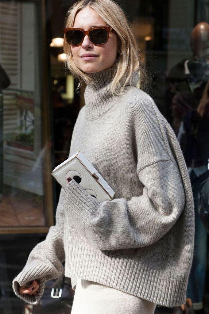 c5be91781b98 Cream Soft Knit Oversized Crop Turtleneck Sweater