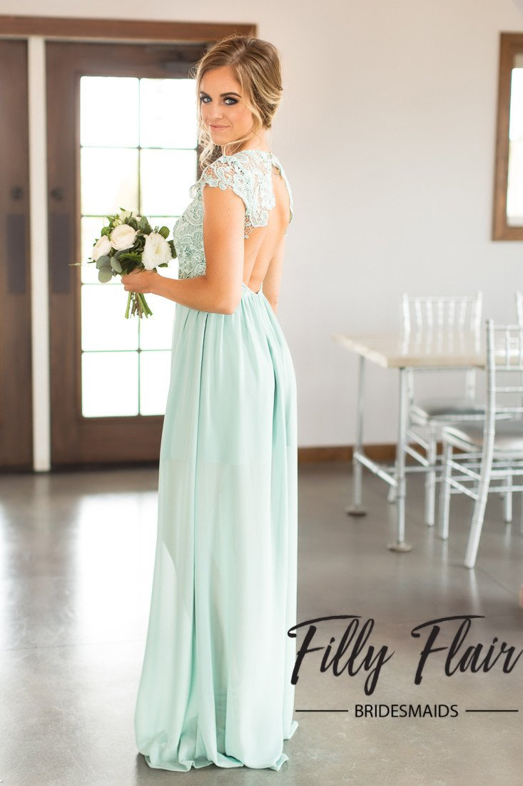 Gown dress for wedding party  Nicole Bridesmaid Dress in Mint  Lace bridesmaids and Wedding