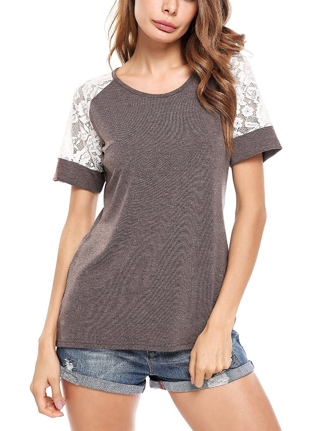 354562fd Women's Clothing, Tops & Tees, Tunics,Women's Lace Short Sleeve Raglan T-