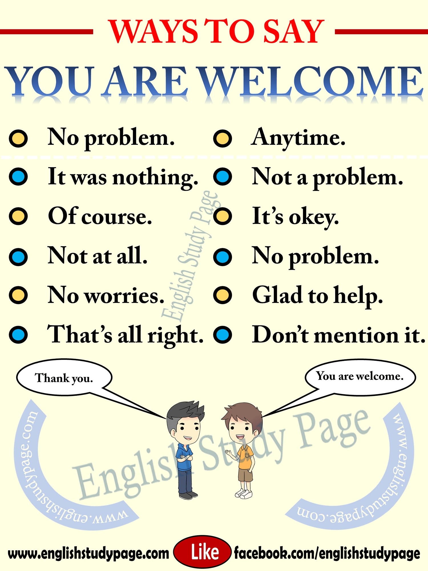 Other Ways To Say You Are Welcome English Study Page