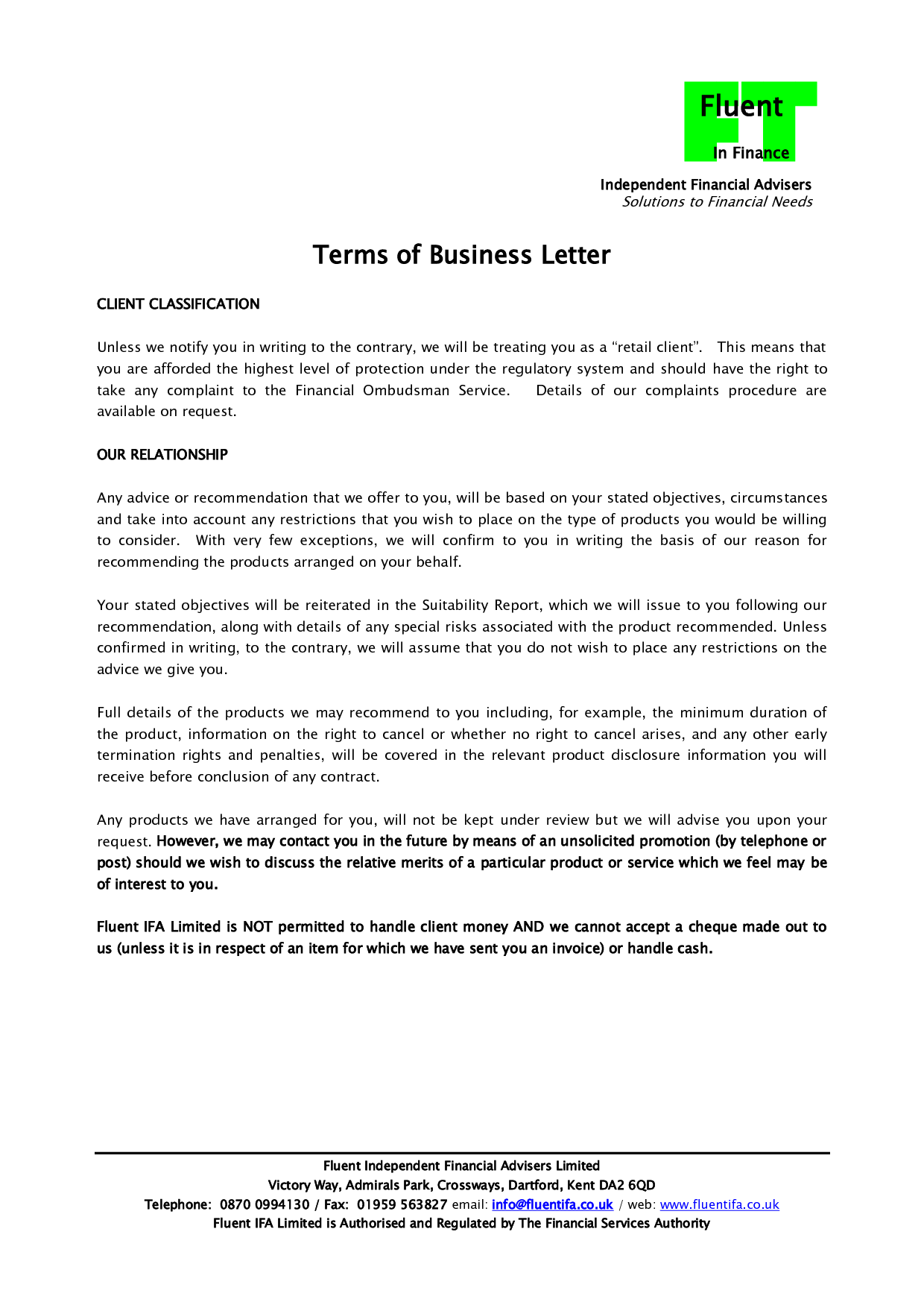 Company Termination Letter Business Contract Sample Examples Word