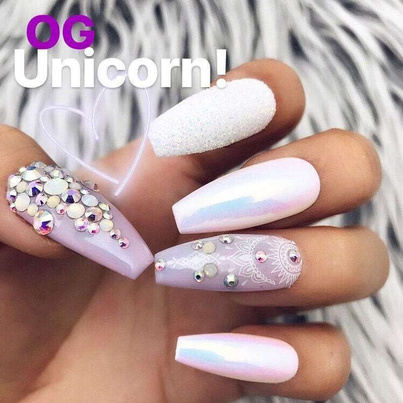 OG Unicorn Chrome Swarovski Crystal Pastel Iridescent Glitter Press On Nails   Unicorn  Any Shape   Fake Nails   False Nails   Glue On