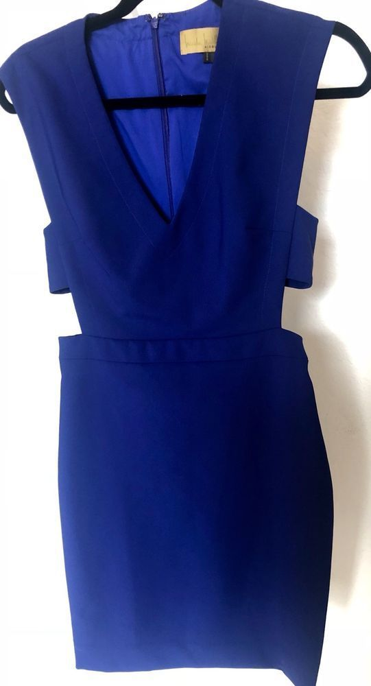 NWT Nicole Miller Navy Blue Cut-Out V-Neck Sheath Party Dress Size 8 ...