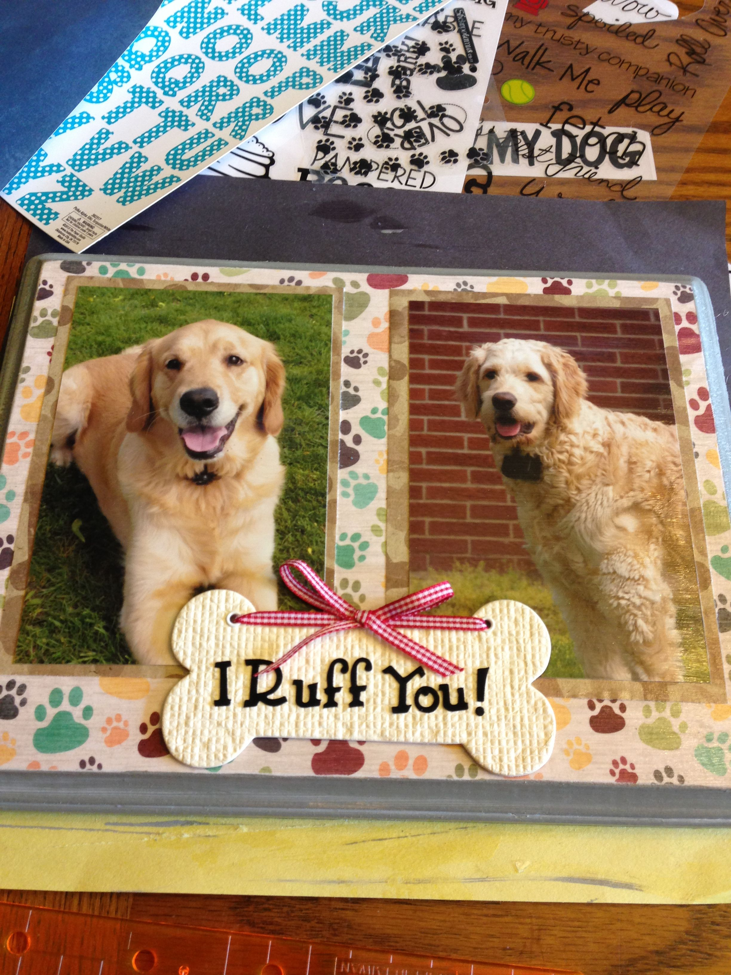 Scrapbook ideas for dogs - Wood Plaque Covered With Scrapbook Paper And Mod Podge