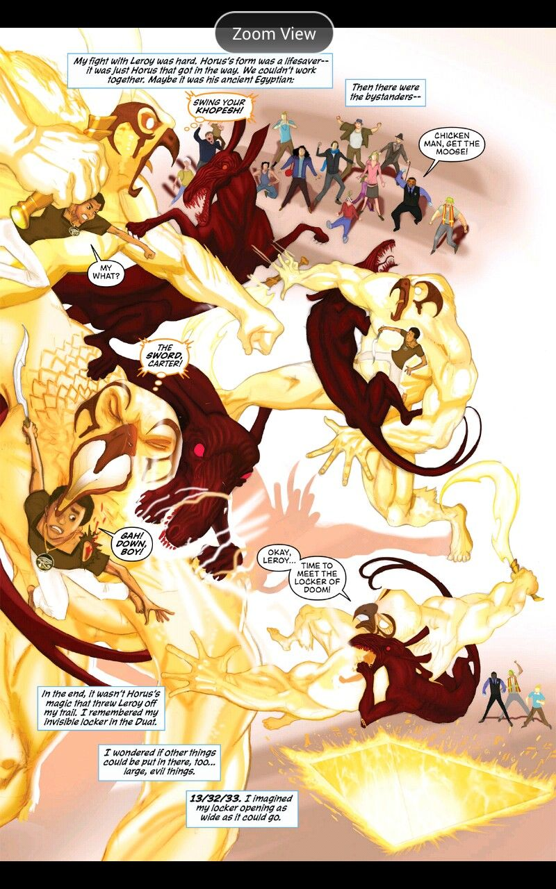 The Red Pyramid Graphic Novel. Carter fighting the Set