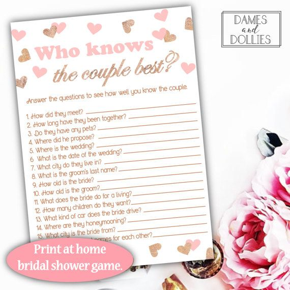 Pink And Rose Gold Bridal Shower Games Who Knows The