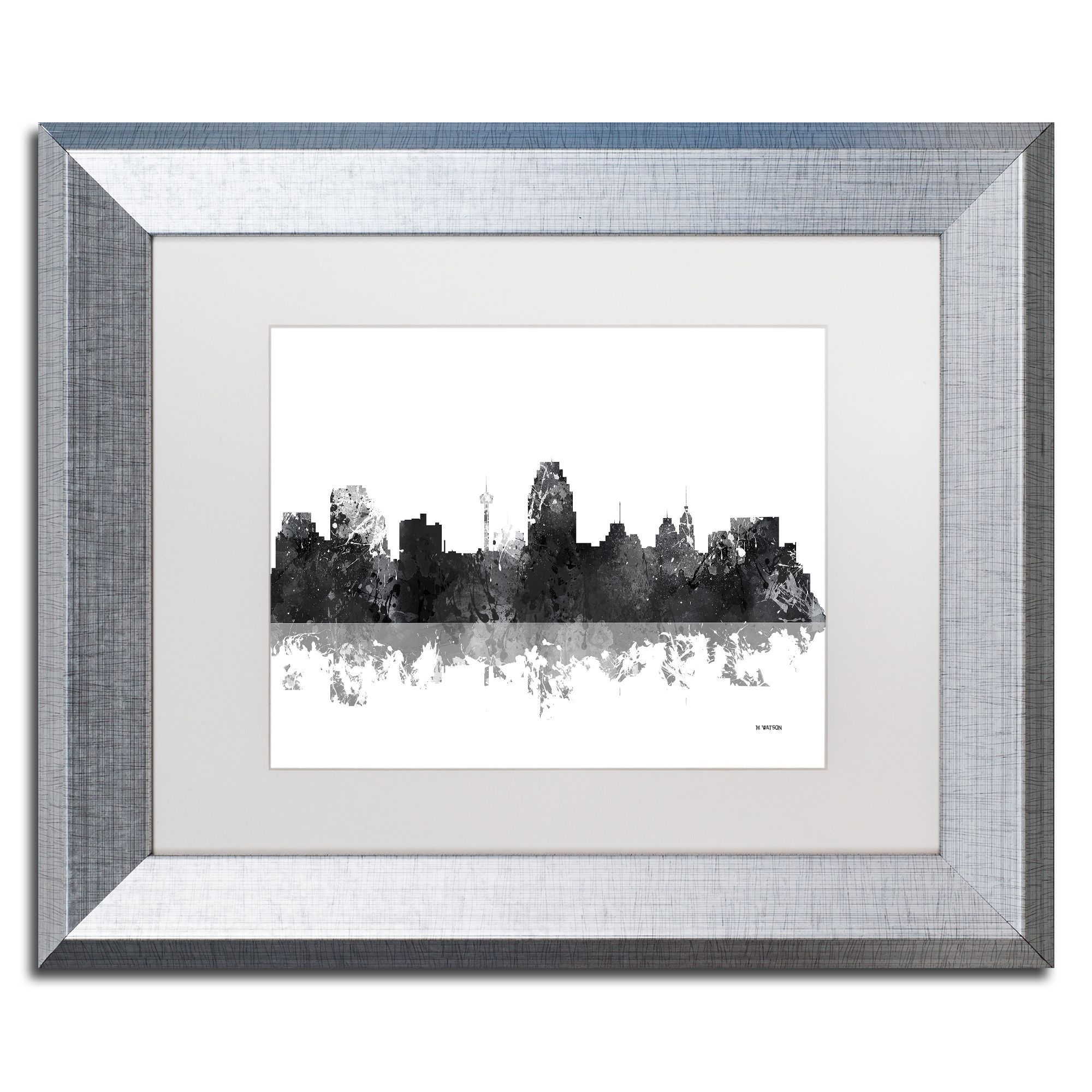 Marlene Watson \'San Antonio Texas Skyline BG-1\' Matted Framed Art ...