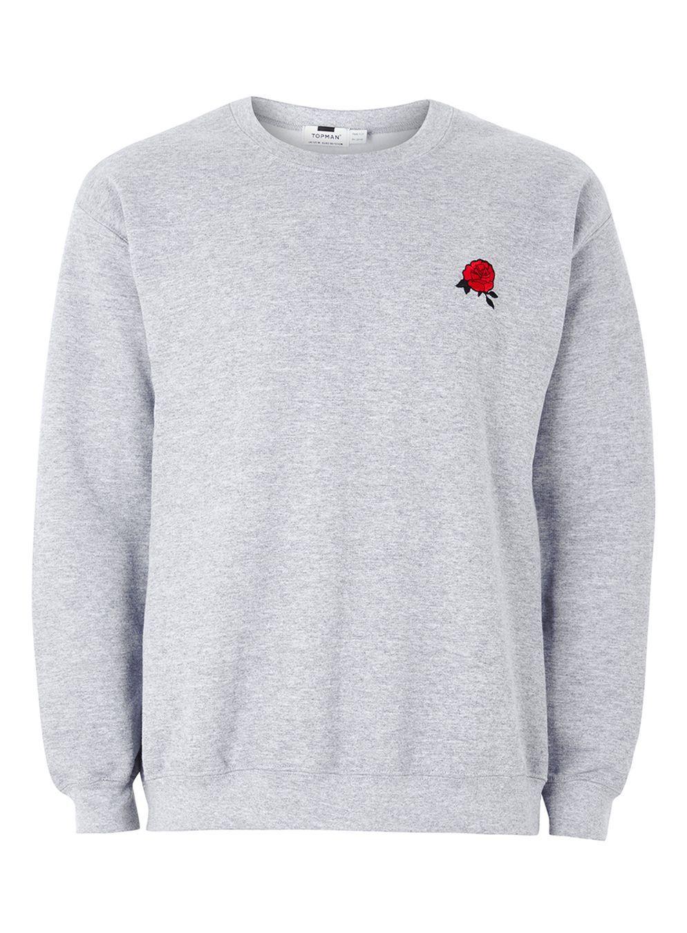 38a307e861e40d Grey Rose Embroidered Sweatshirt Herren Sweatshirt, Grey Sweatshirt, Crew  Neck Sweatshirt, Herren Style