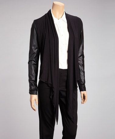 Take a look at this Black Faux Leather Open Cardigan - Women by Amanda + Chelsea on #zulily today!
