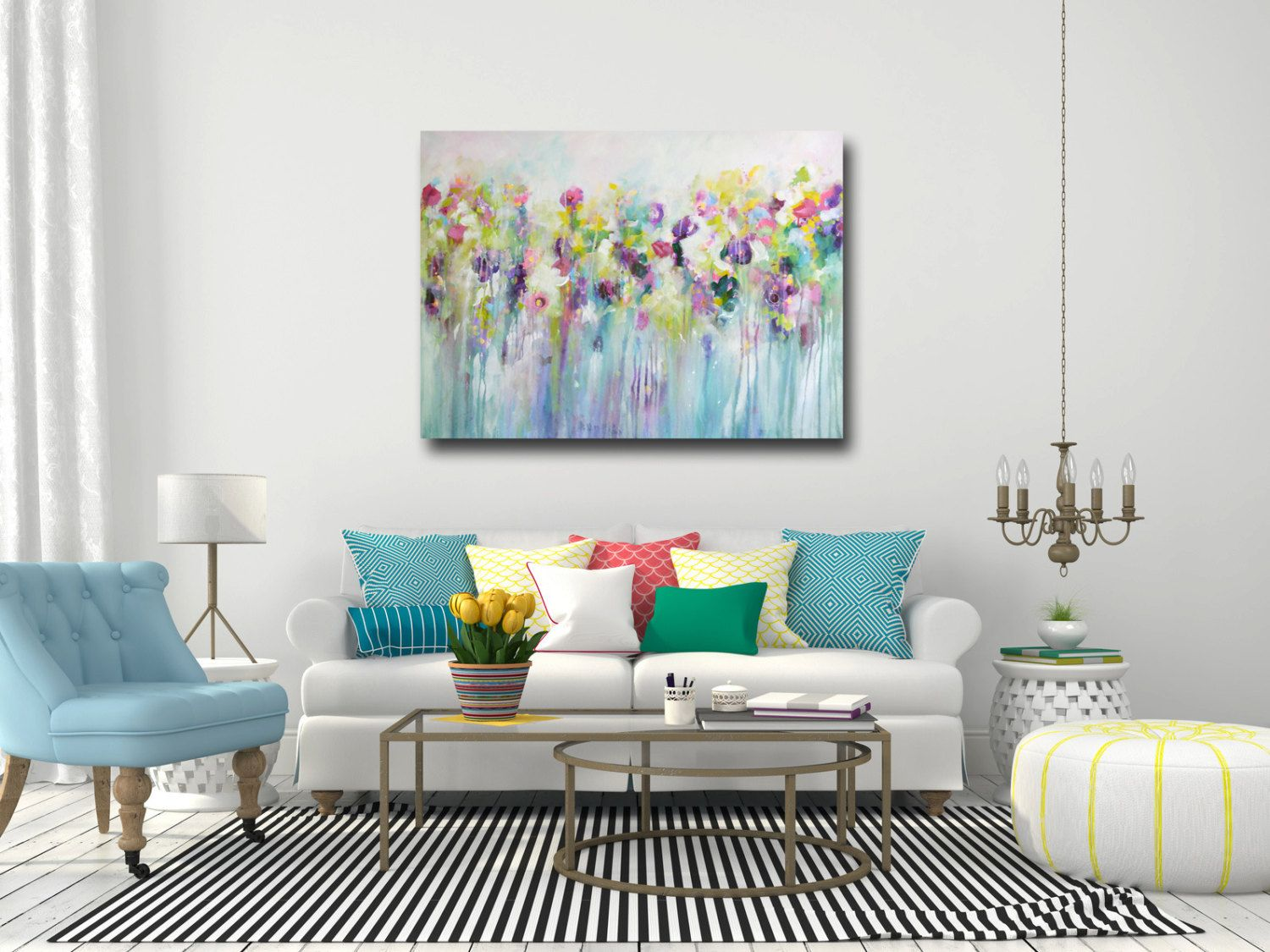 large wall art, canvas art, abstract floral canvas print, giclee