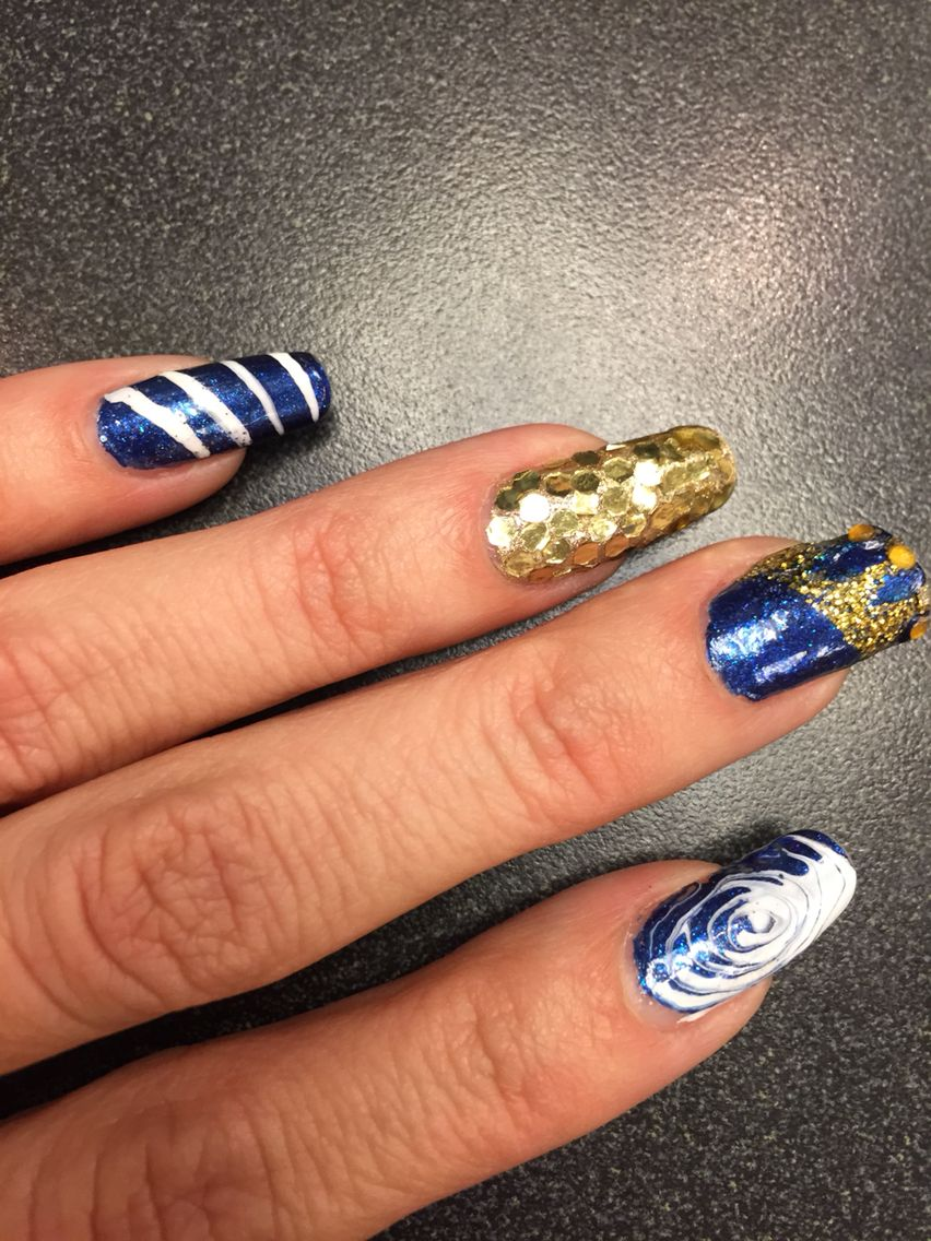 KC Royals manicure in blue, white, and gold ⚾ | My nail designs ...