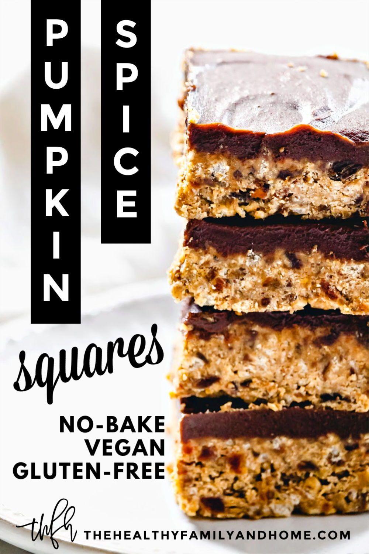 Gluten Free Vegan No Bake Crispy Pumpkin Spice Squares Recipe