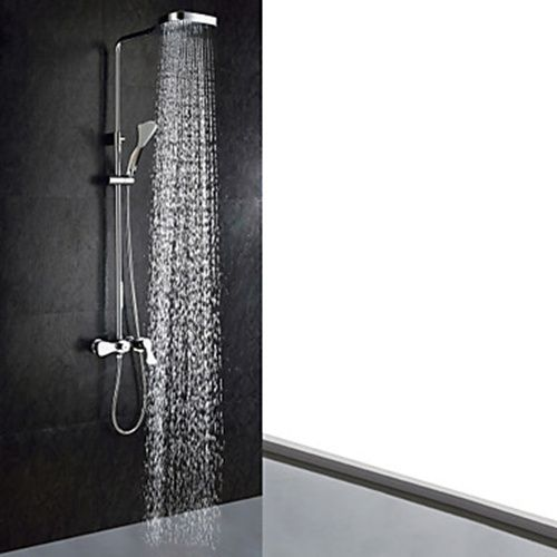 Chrome Finish Contemporary Shower Faucet Handheld Showerhead