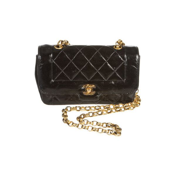 c244fd47b Pre-Owned Chanel Black Quilted Patent Leather Small Vintage Flap...  ($1,595) ❤ liked on Polyvore featuring bags, handbags, shoulder bags,  black, ...