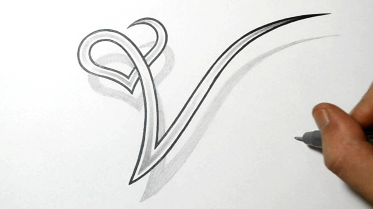 Tattoo Designs Letter A - Drawing the letter v with a heart design