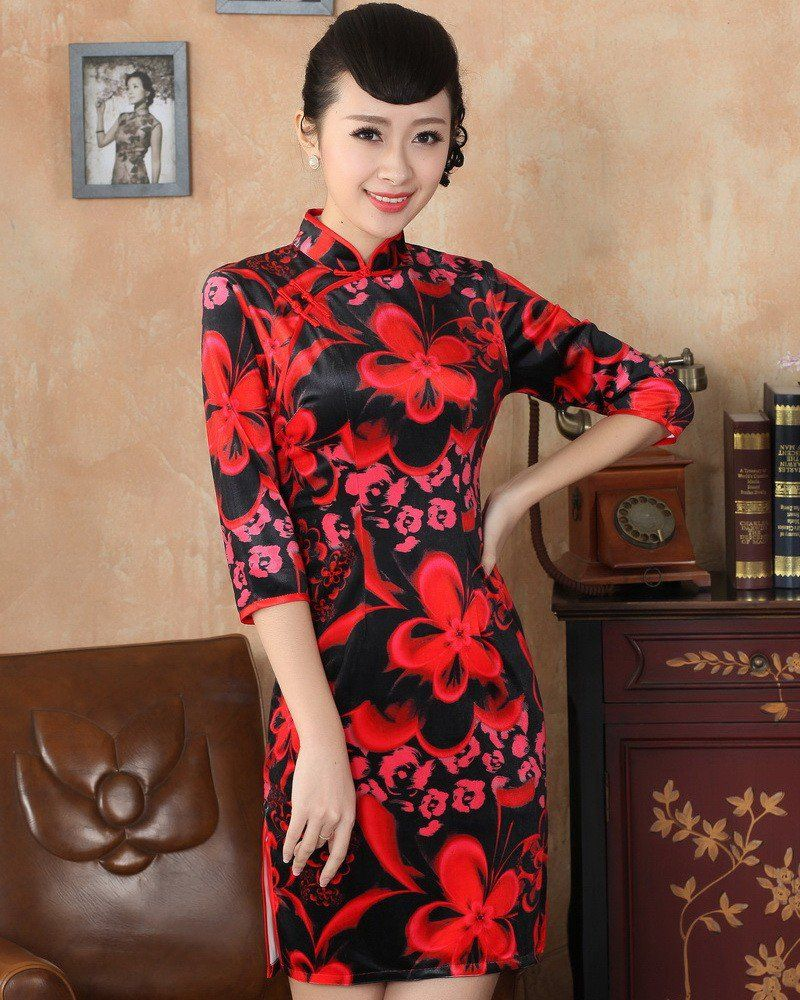 Classic black pleuche red flowers print qipao dress for winter