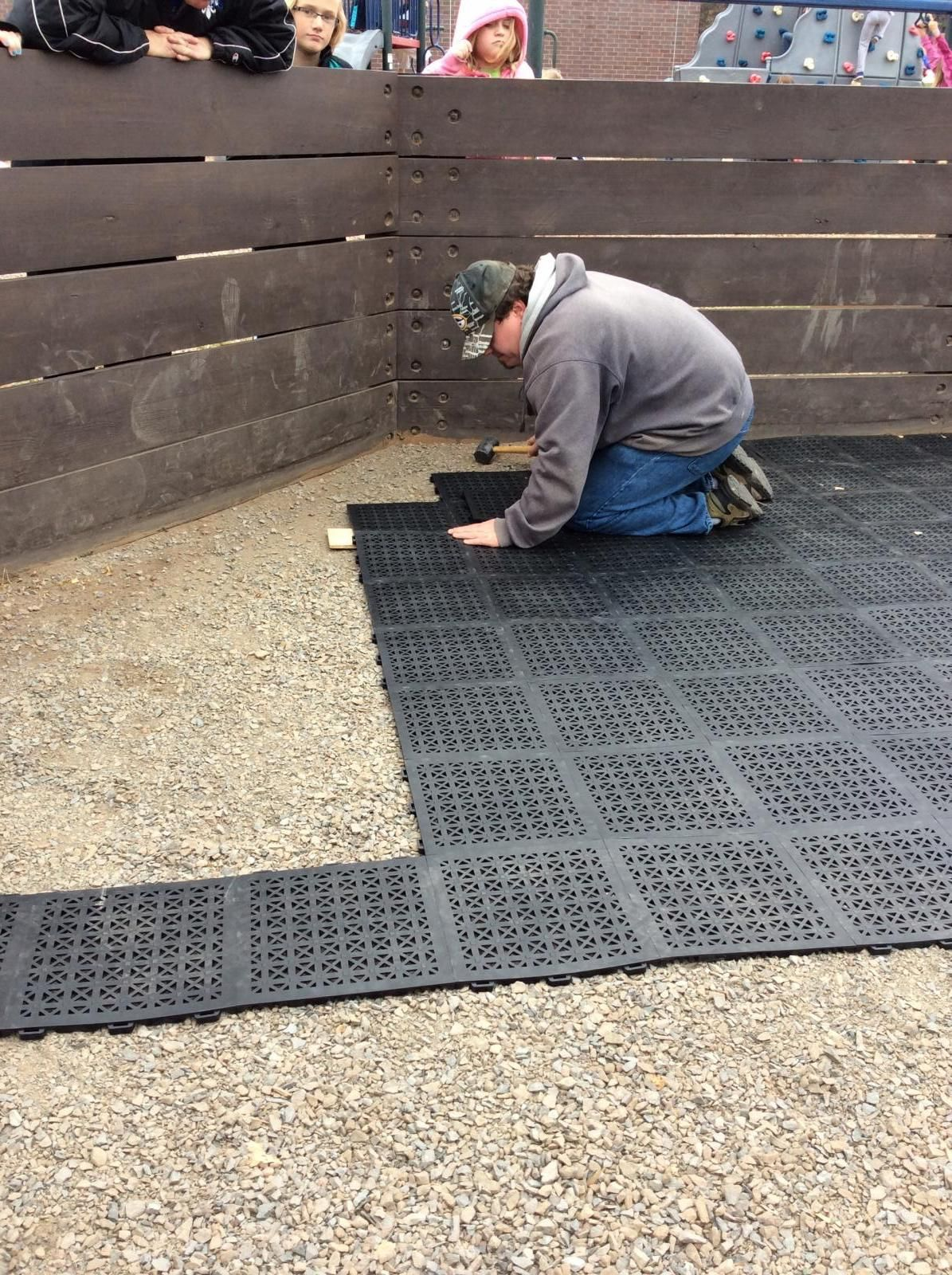 Staylock Tile Perforated Black Playground Flooring Rubber Patio