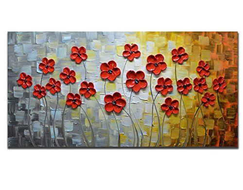 Asdam Art 100/% Hand Painted 3D Paintings On Canvas Ready to Hang White and Red Flower Oil Paintings Abstract Modern Artwork Tree Wall Art for Living Room Bedroom 20X40 inch