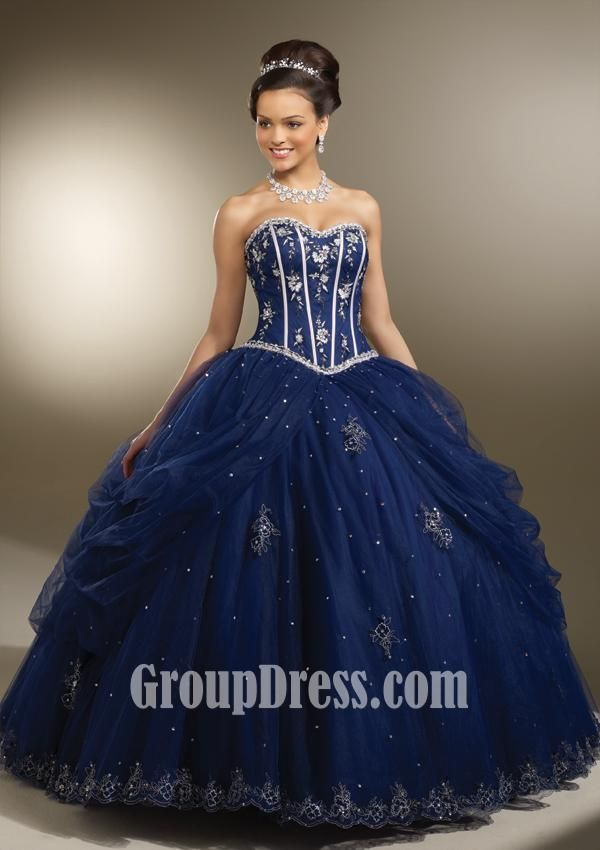 navy embroidered satin and tulle #quinceanera #dress $279.00 ...