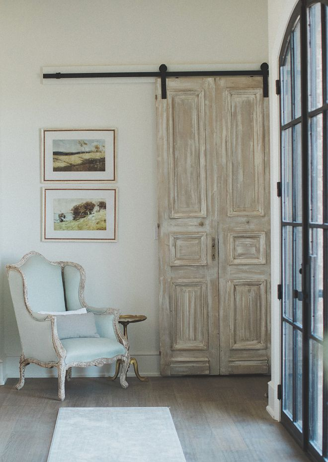 Antique French Door Hung With Barn Door Hardware Whitewashed Antique