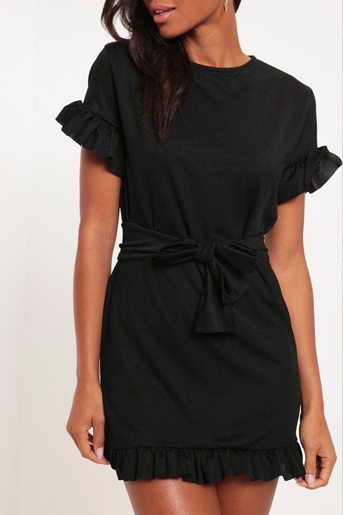 34dff05159d Black Tie Waist Frill Detail Dress - PDP – I SAW IT FIRST
