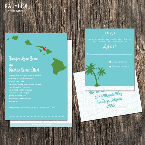 Items Similar To Hawaii Wedding Invitation Set Oahu Kaui Maui Island Destination On Etsy