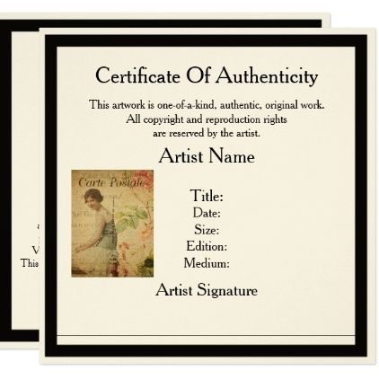 Certificate Of Authenticity Template For Artists  Invitations