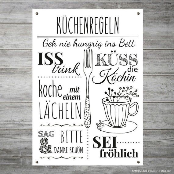 Küchenregeln Poster instant download. Kitchen rules GERMAN #kitchenrules