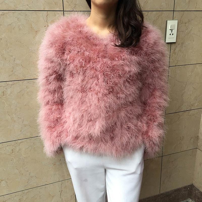 89bc24b530f Jancoco Max S1002 Women 2018 Real Fur Coat Genuine Ostrich Feather Fur  Winter Jacket Retail /