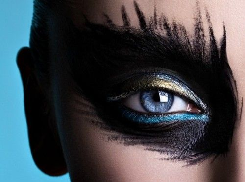 black, gold, blue, abstract, eyeshadow, makeup