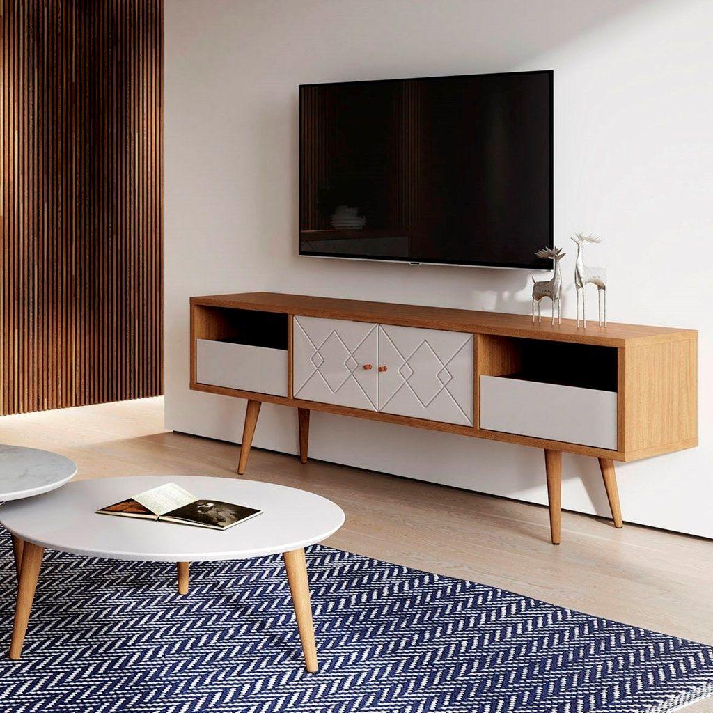 Manhattan Comfort 220952 Trinity 70 86 Mid Century Modern Tv Stand W Solid Wood Legs I In 2020 Mid Century Modern Tv Stand Tv Stand Wood Tv Stand And Coffee Table