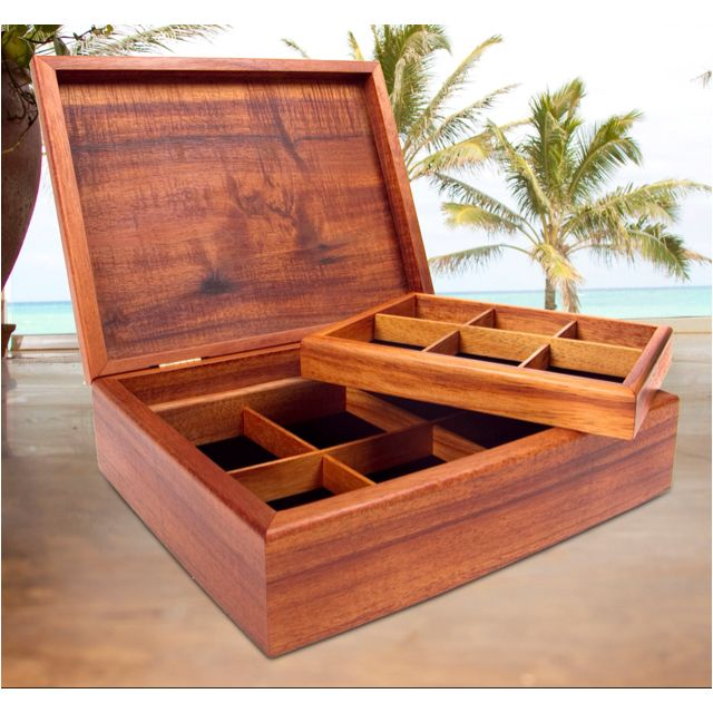 Koa Box with Half Tray. Made in Hawaii with solid curly Koa from the Big Island. Perfect for mom. Only at Martin & MacArthur. 808-845-6688.