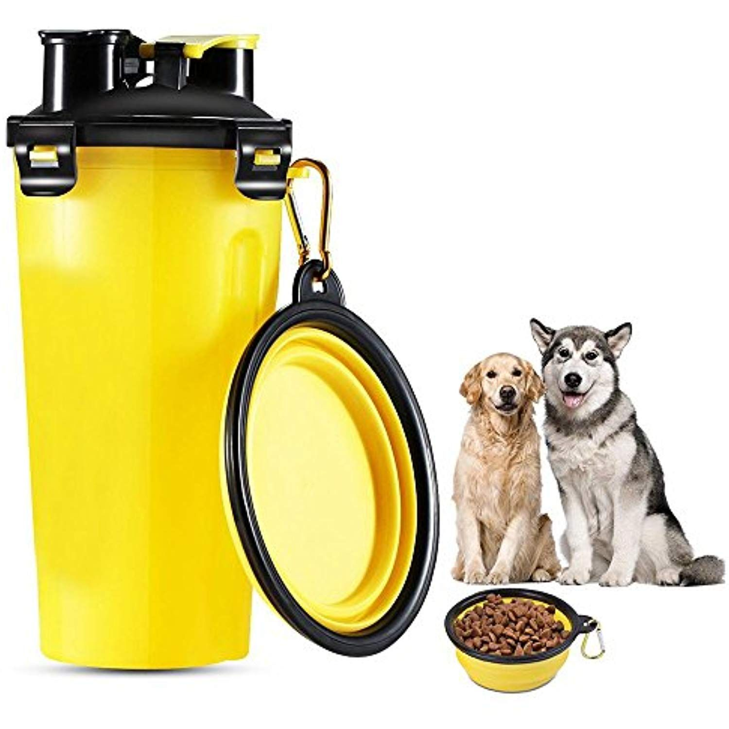 Aolvo 2 In 1 Pet Portable Food And Water Feeding Bottle Travel Pet Food Storage Container With Collap Pet Food