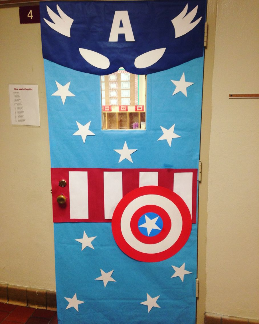Super Heroes Decor For Classroom : Captain america classroom door for the