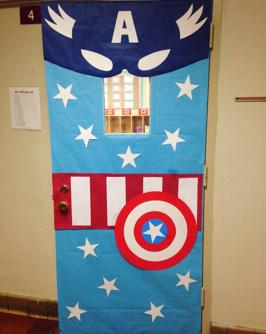 Captain america classroom door for the classroom for Puerta wonder woman