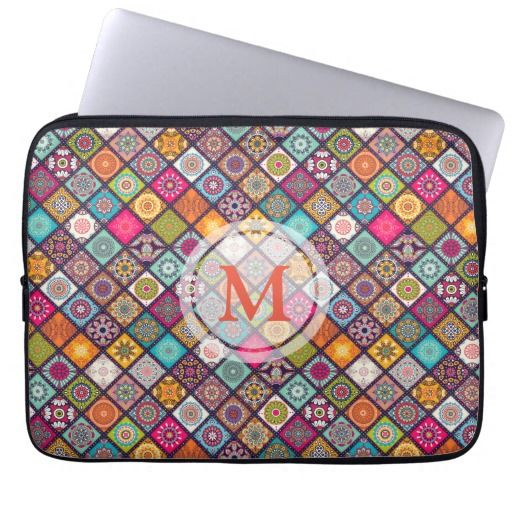 Monogram this Colorful Mandalas - Electronic Bag Laptop Sleeve