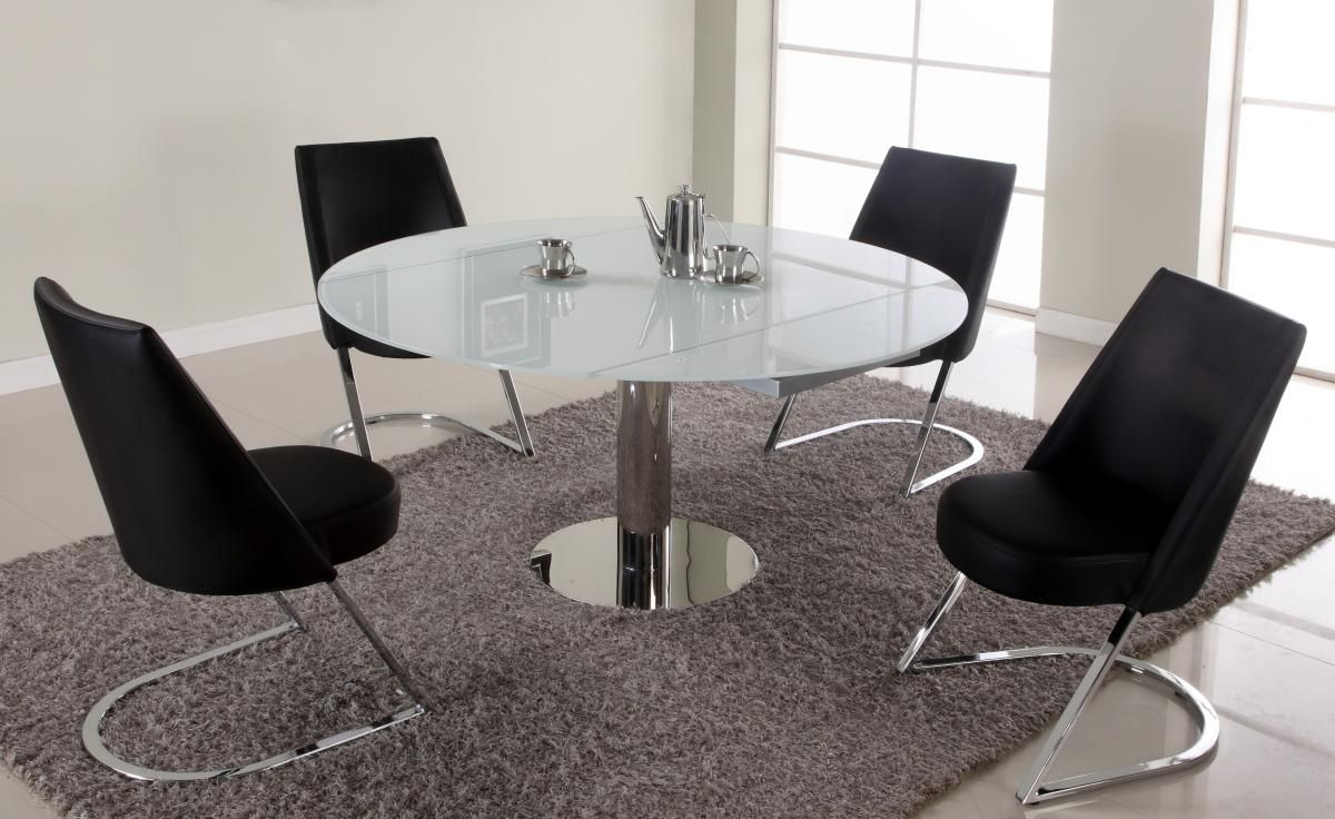 Extendable Round Sqaure Glass Top Designer Table Set Sandalye