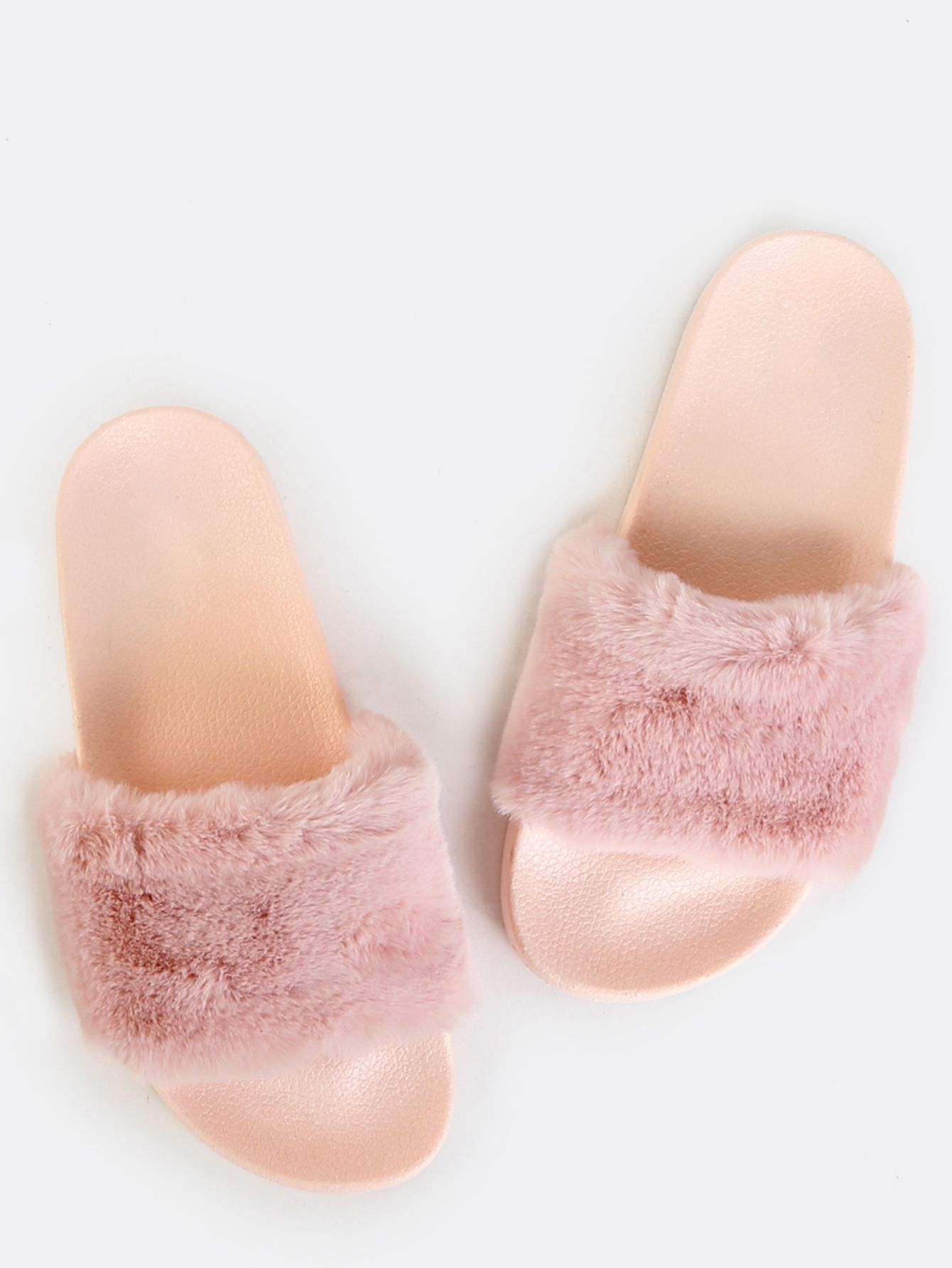 dd635af1adc54d Shop Fluffy Fur Slide Sandals PINK online. SheIn offers Fluffy Fur Slide  Sandals PINK   more to fit your fashionable needs.