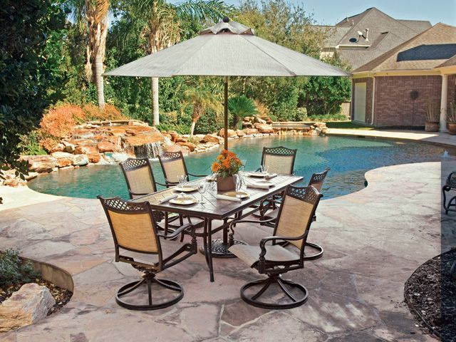 Exceptionnel Cordoba Sling Aluminum 7 Pc. Swivel Dining Set With 84 X 42 Porcelain Tile  Top Table $2750.00